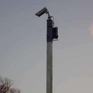 CCTV camera attached to post